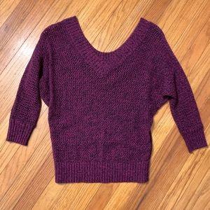 3/4 sleeve open knit sweater